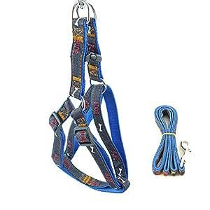 XPangle 狗狗背带牛仔布,可调节重型狗背心吊带皮带套装散步跑步,耐用宠物狗训练*带适用于小型中大型犬 蓝色 M