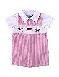 Good Lad 新生儿/婴儿男孩红色罩衫泡泡纱 7 月 4 日短连衣裤套装
