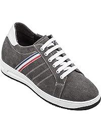 CALTO 男式隐形增高高筒鞋 - 灰色/白色麂皮系带轻质经典运动鞋 - 高 6.6 厘米 - T9672