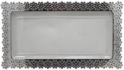 大银边花盘 Clear,Silver Large - 9 Inch. x 15.5 Inch. unknown