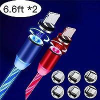 Streamer 磁吸电缆,LED 流动磁性充电电缆三合一电缆(2件装,6.6英尺)蓝色和红色