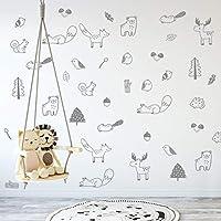 乙烯基森林动物墙贴 36 片。 育儿装饰,原创艺术家设计。 儿童胶粘动物贴纸。 Baby Nordic 狐狸、熊、驼鹿、鸟、松鼠、树叶卧室装饰。 灰色