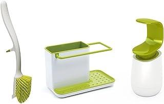 Joseph Joseph 厨房水槽套装 含小盒、边缘碟刷和单手皂液瓶,白色/绿色,12 x 31 x 20厘米