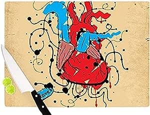 "Kess InHouse Roberlan""Heart"" 砧板,红色 红色 11.5 by 8.25-Inch RP1002ACB01"