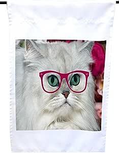 Rikki Knight 嬉皮白色绒猫带粉红色眼镜房子或花园旗,30.48 x 45.72 cm 旗帜尺寸 27.94 x 27.94 cm 图像