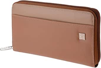 大号女士皮革钱包,周围有 DUDU 拉链 - 多彩系列 ~ 毛里求斯 - Safari