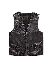 HARLEY-DAVIDSON 官方男式铁质做旧修身皮背心,黑色