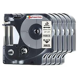 Phoenixa Pack 兼容 DYMO D1 标签胶带组合替换装 DYMO 45010 45013 45016 45017 45018 45019 适用于 DYMO LabelManager 160 280 420P PnP 220P 360D 450 210D