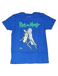 时尚 Rick & Morty 蓝色图案 T 恤