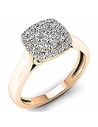 0.50 Carat (ctw) 10K Rose Gold White Diamond Ladies Cluster Engagement Ring 1/2 CT (Size 7)