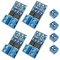 WayinTop 4 件 Mosfet 驱动模块 双大功率 0-20KHz FET PWM 触发开关驱动模块 DC 5V-36V 15A 400W 速度/灯亮度控制 + 4 件 2 针 PCB 安装螺丝接线端子连接器