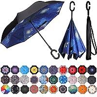 BAGAIL 双层反向折叠伞防风防紫外线大直伞户外车雨伞 C 形手柄
