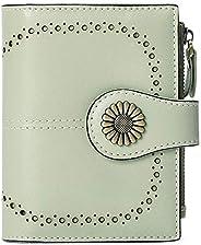 SENDEFN 小號女式錢包真皮雙折錢包帶證件窗口 淺灰色 小號
