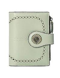 SENDEFN 小号女式钱包真皮双折钱包带证件窗口 浅灰色 小号