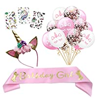 独角兽生日女孩套装金色闪光独角兽头带,粉色缎面腰带,独角兽纹身和*独角兽气球套装,完美适合独角兽派对用品礼品礼品和装饰礼品