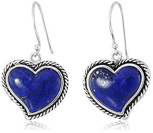 纯银Lapis Lazuli 心形镶嵌耳坠