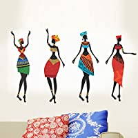 StickersKart Wall Stickers Colorful African Women (Wall Covering Area: 80cm x 50cm)