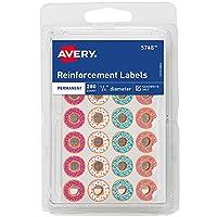 Avery Fashion 加强标签,多色甜圈设计,0.64 cm 直径,280 支装 (5748)