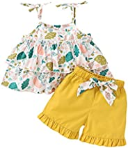 婴儿幼儿女童花卉服装吊带叶荷叶边上衣衬衫蝴蝶结荷叶边短裤 2 件套夏季服装