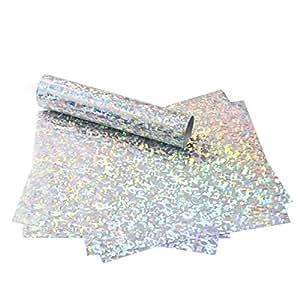MAYPLUSS 热转印乙烯基板 - 彩色激光全息易杂草 HTV 熨烫 T 恤,工艺服装热压 - 30.48 x 24.13 厘米,5 张 - 粉色 Crystal Silver - 12 X 9.8 Inches - 5 Sheets LS-SILVER-17