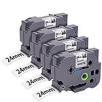 兼容 P 觸摸標簽機膠帶,替換 TZe 膠帶 12mm 0.47 英寸層壓白色與 Brother P-Touch Cube PT-D600 PT-H110 PT-D210 標簽機,4 件裝 TZe-251 (24mm) 白色