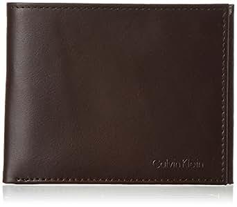 Calvin Klein 卡尔文·克莱恩 皮革两折钱包,带RFID锁,钥匙扣,深棕色