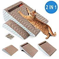 PrimePets 猫爬架纸板,可拆卸猫咪刮擦垫,带球,2 合 1 瓦楞猫刮擦休息室沙发替换装(含盖屑)
