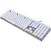 达尔优 机械键盘 108键无冲全背光 机械师合金版 电竞游戏键盘 (108键白色红轴)