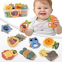 TUMAMA 10 只装婴儿摇铃玩具,适用于 0 3 6 9 12 个月婴儿,婴儿抓握玩具,旋转摇铃早期教育玩具,带储物盒
