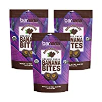 Organic Dark Chocolate Chewy Banana Bites - 3.5 Ounce (3 Count) - Delicious Barnana Coated Potassium Rich Banana Snacks - Lunch Dinner Sports Hiking Natural Snack - Whole 30, Paleo, Vegan