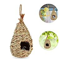 Relaxdays 鸟巢悬挂装饰阳台庭院花园编织鸟屋吸管高 29 x 深 12 厘米 自然色