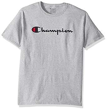 Champion 男士 经典 Jersey 印花T恤 Light Steel/Champion Script, 2XL