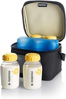 Medela 美德乐 乳汁冷藏瓶和携带套件,瓶装带盖,轮廓冰袋,保温袋,5盎司/约147.87毫升