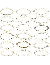 Nanafast 18-19 件女士女孩脚链夏日海滩银金色项链珠宝可调节尺寸
