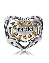 jmqjewelry Mom Heart I LOVE YOU 生日诞生石魅力 jan-dec 晃动珠子适用于手链  November