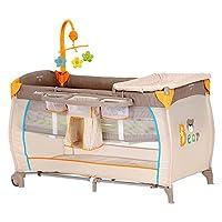 德国hauck婴儿床Babycenter(多功能可折叠新生儿床带滚轮便携欧式睡床移动尿布更换台游戏床) 米色(亚马逊自营商品,由供应商配送)