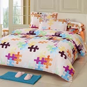 Luo Yina 罗亿娜 全棉四件套纯棉简约欧式4件套床单床上用品 全棉斜纹特价包邮(1.5/1.8m床通用) (幸福拼图)