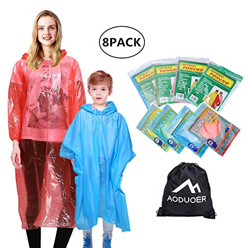 Aoduoer 雨斗篷家庭装 - 加厚连帽一次性紧急雨斗篷,适合女士、男士、青少年、男孩和女孩雨衣斗篷外套旅行配饰生存包