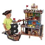 KidKraft 63284 Pirate's Cove 木制玩具套装包含海盗船和可动公仔