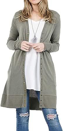 JNTOP 女士柔软 V 领长袖系扣针织开衫毛衣