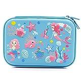 美人鱼大容量硬顶铅笔盒带隔层 - 可爱的校文具用品收纳盒笔筒,适合小女孩学步儿童 浅蓝色。