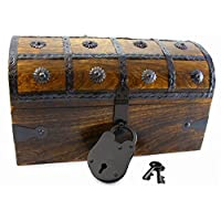 Well PACK BOX 木制海盗 Treasure chest 盒,全尺寸仿古风格锁和骨架钥匙 (迷你胸3Pack)
