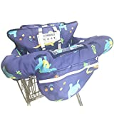 婴儿购物车罩- 二合一 - 可折叠便携式座椅带婴儿和幼儿 - 兼容杂货车座椅和高脚椅 - 包括免费携带袋 恐龙