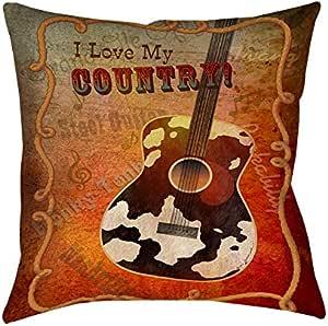 手工木工人和编织方形抱枕,16 英寸,吉他