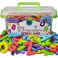 磁性泡沫字母和数字优质 ABC,泡沫字母磁铁 | 学前学习、拼写、罐中计数的教育玩具 123 件
