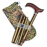 蓝色徽章可调节折叠行程棒和时尚储物袋,青铜色/威廉 Morris 金色百合金
