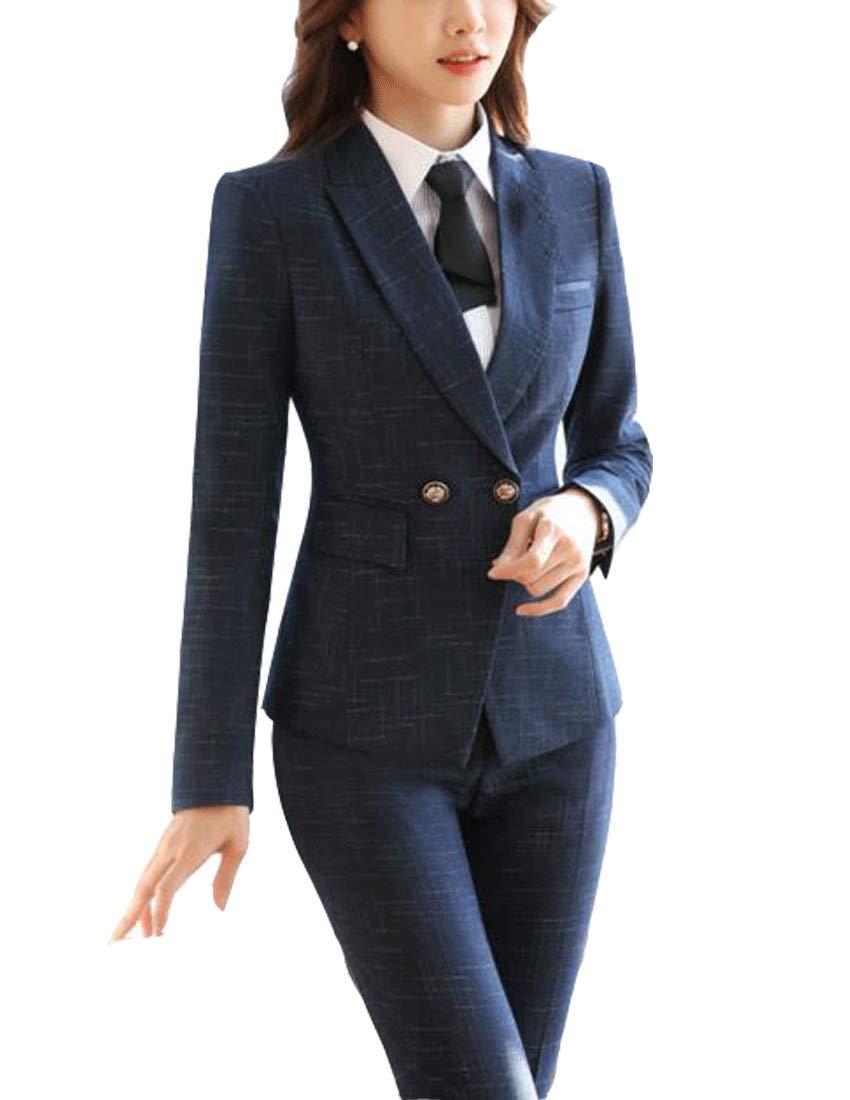 MFrannie 女式格子双扣长袖西装和短裙套装