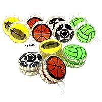 儿童溜溜球玩具|趣味运动主题儿童溜球|运动球设计,足球篮球,排球(12 只装)