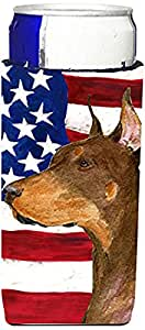 USA American Flag with Doberman Ultra Beverage Insulators for slim cans SS4224MUK