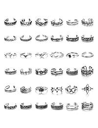 Florideco 36 件复古脚趾戒指套装女士可调节开环环复古花结箭头指环